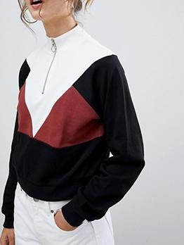 Contrast Color Zipper Up Sweatshirts For Women