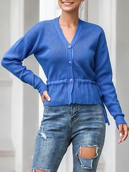 Waist Drawstring Button Up Cardigan Sweater