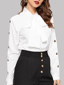 Button Decor Long Sleeve Tie Neck Blouse
