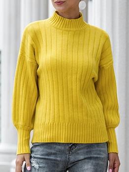 Lantern Sleeve Mock Neck Sweaters For Women