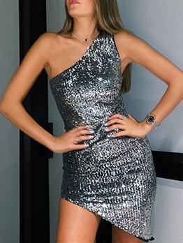 One Shoulder Irregular Sequin Sleeveless Dress