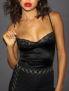 Lace Stitching Spaghetti Strap Skinny Black Bodysuit