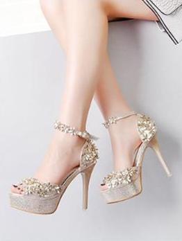 Stereo Flower Peep Platform Ladies Sandal
