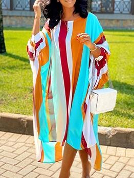 Loose Colorful Striped Casual Maxi Dresses