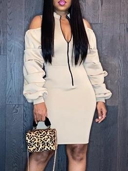 Front Zip Up Open Shoulder Long Sleeve Dress