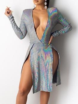 Deep V Neck High Split Hem Sexy Short Dress