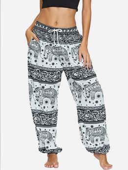 National Style Printed Drawstring Loose Pants