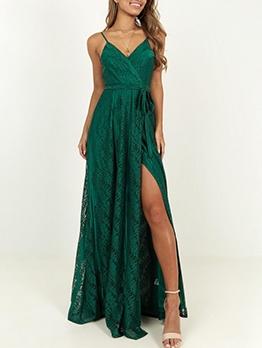 Pure Color Slip v Neck Slit Maxi Dresses