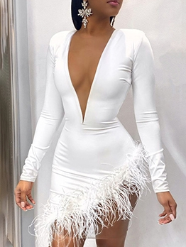 Deep V Neck Feather Decor Long Sleeve Mini Dress
