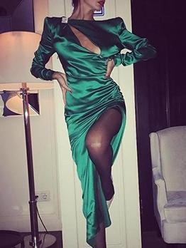 Vintage Green Cut Out Slit Maxi Dresses
