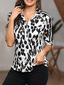 Turndown Neck Long Sleeve Leopard Print Blouse