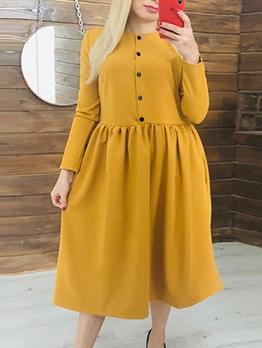 Single-Breasted Large Hem High Waist Ladies Dress