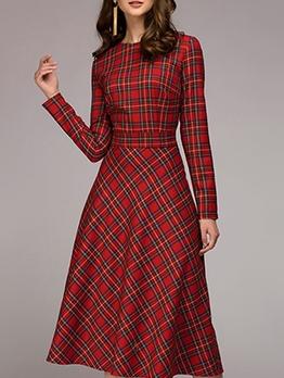 Classic Plaid Long Sleeve A-Line Midi Dress