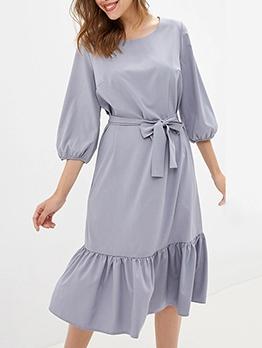 Flounced Hem Lantern Sleeve Solid Ladies Dress
