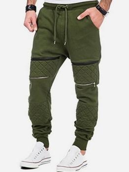 Zip Up Patchwork Drawstring Men Jogger Pants