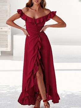 Fashion Boat Neck Ruffle Split Hem Evening Dress