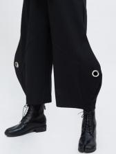 Black Metal Splicing Bell Bottom Pants