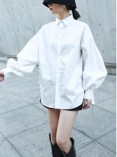 Fashion Pure Color Lantern Sleeve White Blouse