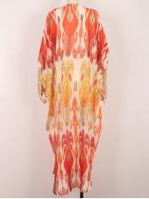 Bat Sleeve Deep V Neck Print Boho Maxi Dress