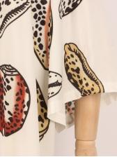 Bat Sleeve Print Split Hem Long Swimsuit Cover Up