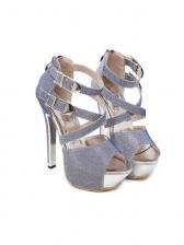 Glitter Peep Toe Buckle Straps Platform Sandals
