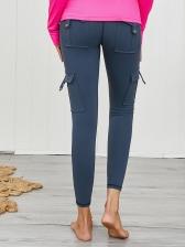 Solid Pockets High Waist Yoga Leggings
