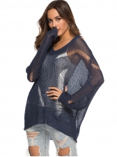 Hollow Out Solid Knitted V Neck Sweater