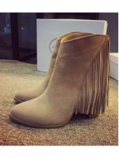 Solid Tassel Chunky Boots Sale