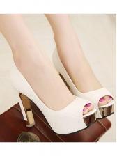 Work Style Platform Peep Chunky Heels