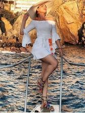 Ruffle Trim Off The Shoulder White Dress