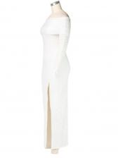 Gauze Patchwork Off Shoulder Maxi Dress With Slit
