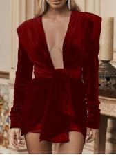 Sexy Deep V Neck Tie-Wrap Long Sleeve Mini Dress