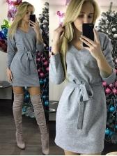 Winter Tie-Wrap Solid V Neck Long Sleeve Dress