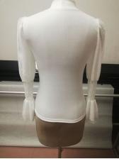 Gauze Patchwork Knit Mock Neck Fashion Blouse