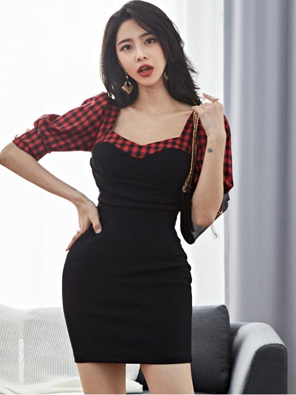 Elegant Plaid Patchwork Bodycon Dress