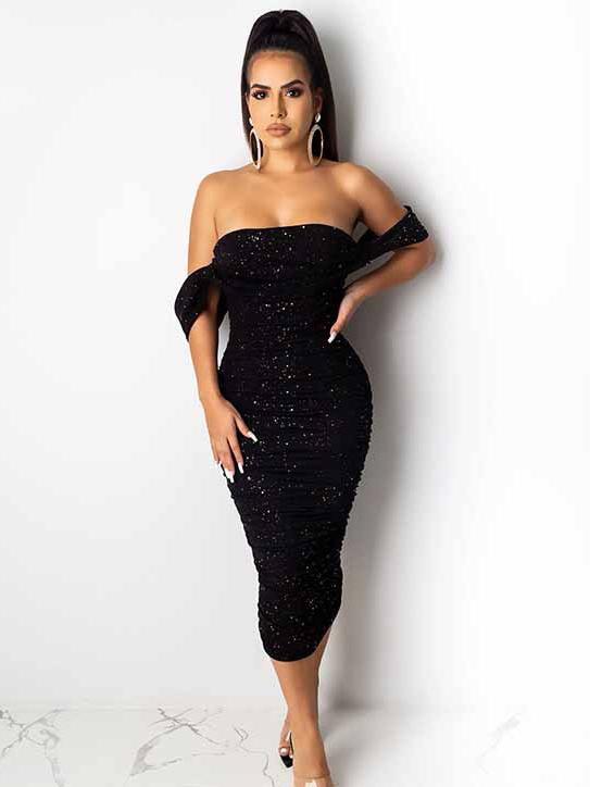 Sexy Bodycon Black Off Shoulder Sequin Dress