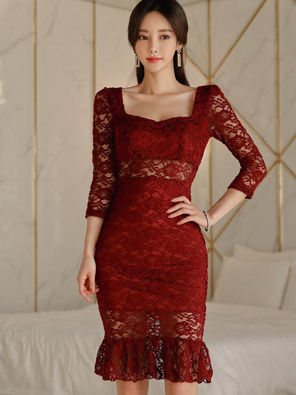 Square Neck Ruffle Hem Burgundy Lace Dress