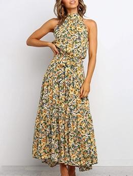 Summer Sleeveless Floral Beach Maxi Dress