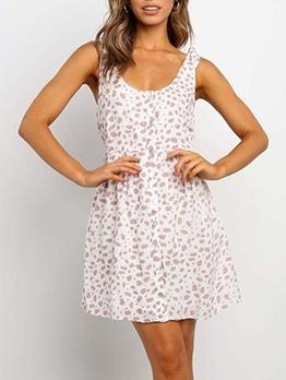 Casual Print Women Sleeveless Dress