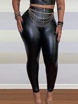 Chic Front Zipper All Black Pu Tight Pants