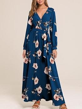 Lace-Up Tie v Neck Print Maxi Dress