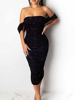 Sexy Bodycon Black Off Shoulder Sequin Dress