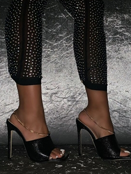 Peep Toe Ankle Chain Black Heels