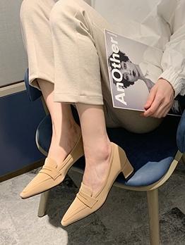 Vintage Suede Solid Chunky Heels