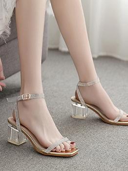 Rhinestone Clear Heel Golden Sandals
