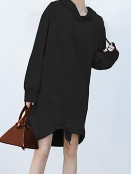 Casual Solid Long Sleeve Hoodie Dress