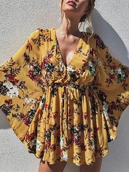 V Neck Lace-Up Long Sleeve Floral Dress