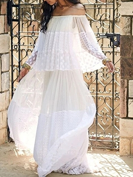 Sweet Style Smart Waist White Maxi Dress For Vacation