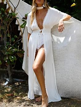 Deep V Neck Tie-Wrap White Cardigan Maxi Dress