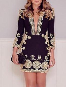 Graphic Print Long Sleeve Dresses For Women